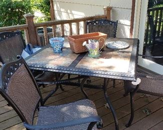Alum/tile patio table, plus 4 chairs and cover