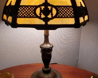 Very old Bradley & Hubbard slag glass shade/brass lamp, with new cord