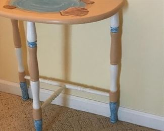 Custom painted wall table