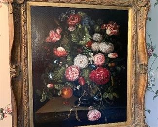 """We have many original works of art! This one is a  Flemish-style floral still life painting. Signed lower left """"H. Antone"""", 20th century."""