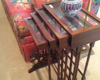 Set of 4 wooden stack tables