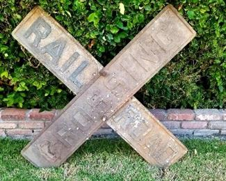 Turn of the century cast iron Railroad Crossing sign