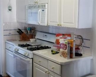 Cute, clean & contemporary kitchen; GE gas range