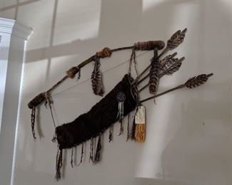 Shoshone ceremonial bow, quiver & arrows