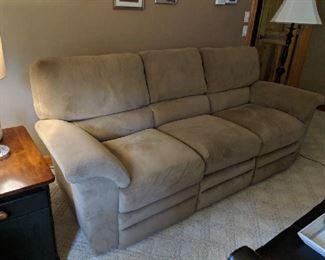 $300  Tan microfiber sofa