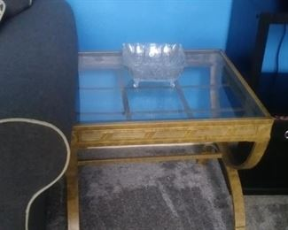 Pair of matching Blonde wood glass top end tables