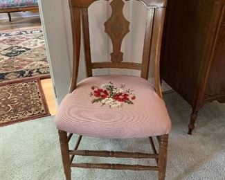 Available for Pre- Sell Vintage Wood side chair with needlepoint seat