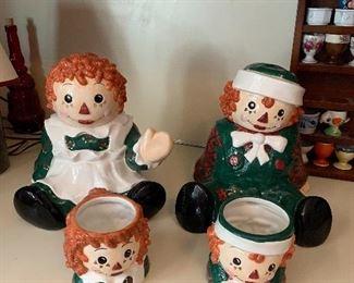 Raggedy Ann and Andy Sakura Holiday Cookie Jars and Mugs