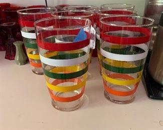Vintage Rainbow Stripe Drinking Glasses