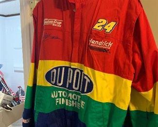 Nascar Jeff Gordon Jacket Vintage Size L Dupont Rainbow Racing Chase Authentics