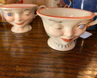 Vintage Bailey's Lipton Tea Winking Smiling His Hers Face Cups