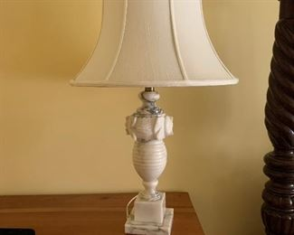 Vintage Marble/Alabaster Lamp with silk shade - we have a pair