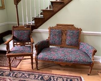 Victorian Hand Carved Eastlake Setee and Chair