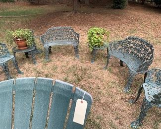 Vintage Cast Iron Patio set - pair of 2 seater benches, side chairs and benches ...ca