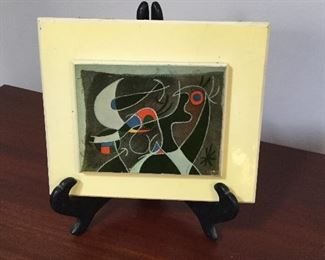 "Joan Miro tile  ""Woman and Bird in the Night"". Paper label 4""x 5"""