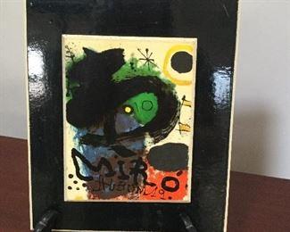 "Joan Miro tile.  ""Miro"". Paper label. 4""x5""."