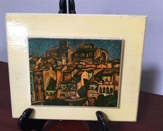 """Joan Miro tile. """"Montroig"""". Paper label. 4""""x5"""""""