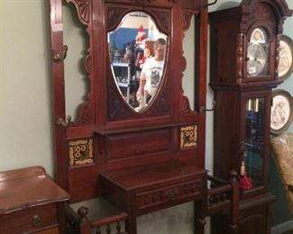 gorgeous hall tree and grandmother clock