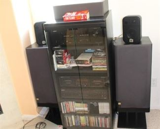 Large JBL Speakers, Denon Receiver, Sony 5 CD changer and some Cd's