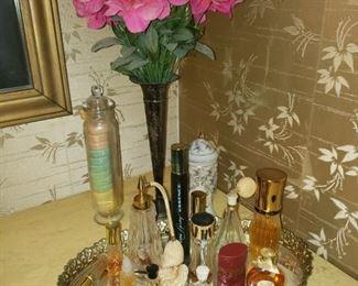 Perfumes and mirror tray,