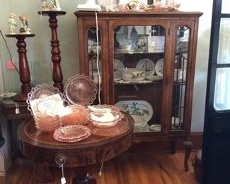 Pink depression and curio cabinets