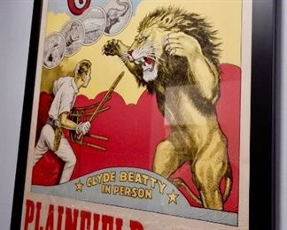 ANTIQUE CIRCUS POSTERS FRAMED WITH MUSEUM GLASS .