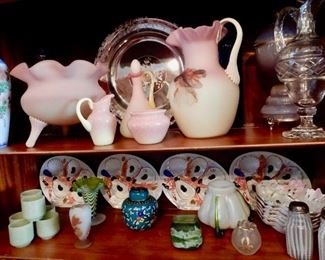 AN AMAZING COLLECTION OF PEACH BLOW, JADE, OYSTER PLATES AND MORE