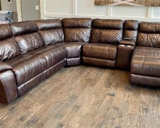 Super looking and comfortable, Leather/recliner sectional sofa and end chaise