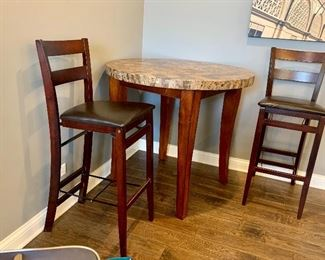 Tall round table and 2 tall folding chairs