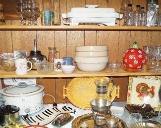 crock bowls, small appliances, serving pieces