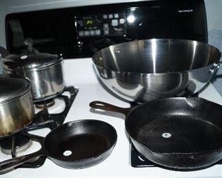 pots and pans, cast iron, wok