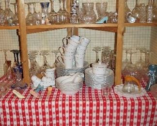 dishes, glass ware, stems, books, phones