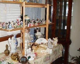 Curio Cabinet, Angels, dolls, Merry Moo Moos