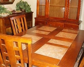 table with chairs and leaf, china cabinet, buffet, mirror