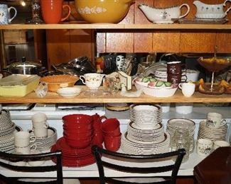 dishes, Pyrex, gravy boats, bar stools,