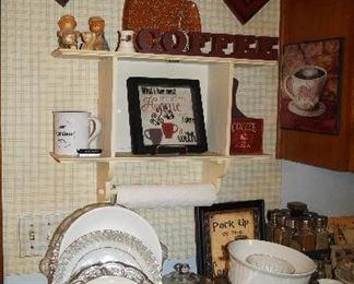clock, plates, decor
