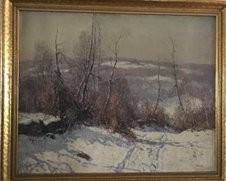 Wilson Henry Irvine (American, 1869-1936) Winter Landscape, oil on canvas, signed lower right.  28 1/2 x 35