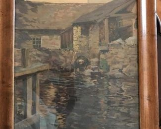 Wilson Henry Irvine ( American 1869-1936) Mill Scene watercolor on paper. Signed lower right