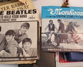vintage 45's including the Monkees and the Beatles