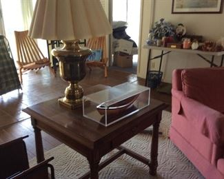 Pair of side tables, brass lamp