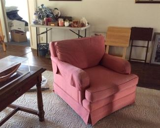 Pink upholstered chair, project piece