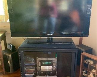 "45"" Samsung TV AIWA Cd/Tape/Radio and 2 speakers"