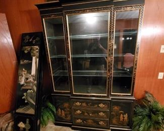 Black lacquer Asian china/curio cabinet and black lacquer Asian room divider/screen