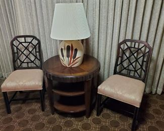 Black lacquer Asian chairs with beautifully upholstered seats; lovely occasional table and vintage lamp