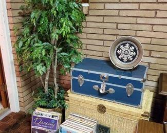 Vintage vinyl - LPs; rattan trunk and blue footlocker