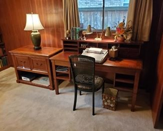 Solid, heavy cherry tone desk w/hutch and matching file cabinet