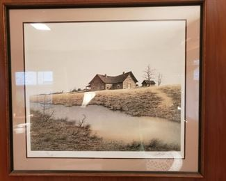 Framed print signed by artist Buth Brown in 1977