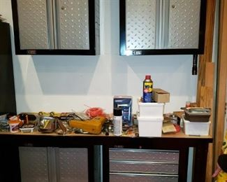 Gladiator Cadet work bench, wall cabinets, roller cabinets