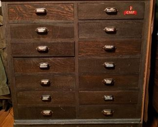 ANTIQUE APOTHECARY / DRUG GENERAL STORE CABINET.  Needs a new top but structurally great with original inventory notes written inside.