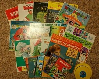 VINTAGE KIDS RECORDS and BOOKS .  This is just a sample.  Dozens available.